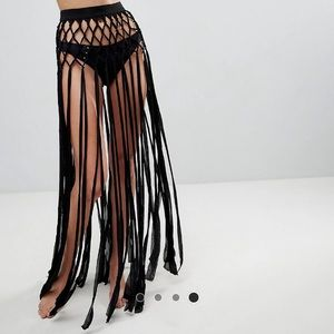 ASOS Black Fringe Knotted Beach Skirt Cover Up
